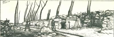 Reproductie van een tekening van het front.
