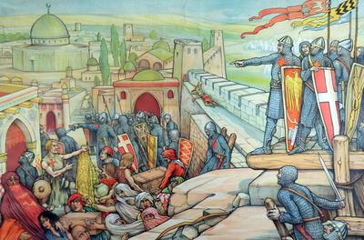 7. Intrede van Godfried van Bouillon te Jeruzalem