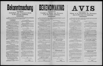 Brussel, affiche van 20 november 1914 - voorschriften inzake reizen, gebruik van documenten.