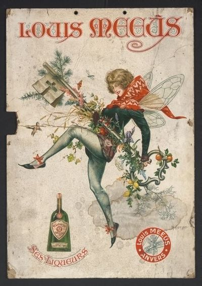 Affiche 'Louis Meeùs, Ses Liqueurs' voor stokerij Meeùs, Antwerpen, 1922-1924