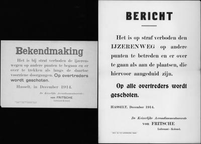Hasselt, affiche van december 1914 - oversteken spoorweg.