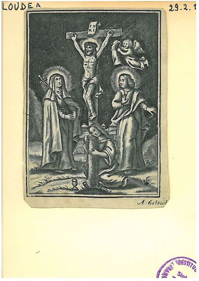 Christus aan het kruis met Maria, Johannes en Maria Magdalena