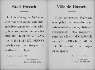 Stad Hasselt, affiche van 5 augustus 1914 - verbod troepen in veldtocht te volgen.