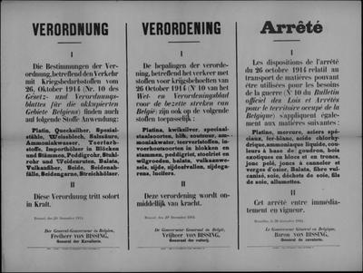 Brussel, affiche van 20 december 1914 - verordening op vervoer grondstoffen.