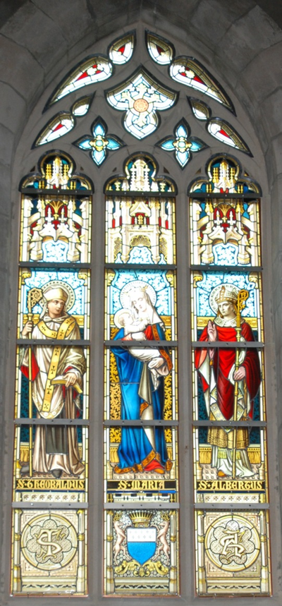 glas-in-loodraam S. Theobaldus, S. Maria, S. Albertus