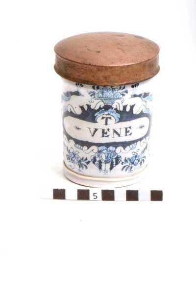 Delfts blauwe apothekerspot; T VENE - PULV: RAD: ZINGIB: