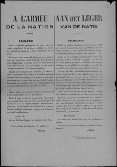 Brussel, affiche van 5 augustus 1914 - Koning Albert neemt leiding leger.