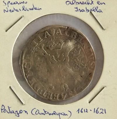 Patagon, geslagen te Antwerpen, 1612-1621, Albrecht en Isabella, zilver