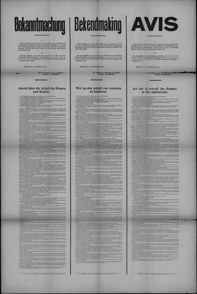 Brussel, affiche van 15 december 1914 - wet op arbeid van vrouwen en kinderen.