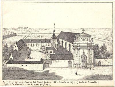 Couvent des Carmes Déchaussés dit Placet, fondé en 1622, démoli en 1799. (Porte de Bruxelles). Extrait de Louvain dans le passé page 499