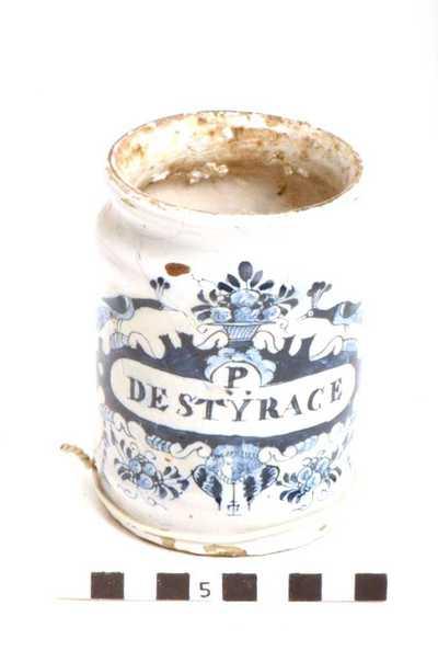 Delfts blauwe apothekerspot; P DE STYRACE - ALUM: UST: