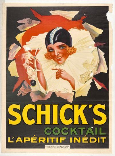 Exterieuraffiche 'Schick's, l'Apéritif Inédit' voor stokerij Alphonse Schick's, Brussel, voor of in 1925