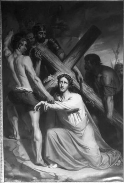 3e statie van de kruisweg, Jezus valt voor de eerste maal onder het kruis