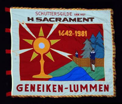 Vlag van schuttersvereniging H. Sacrament Geneiken 1981