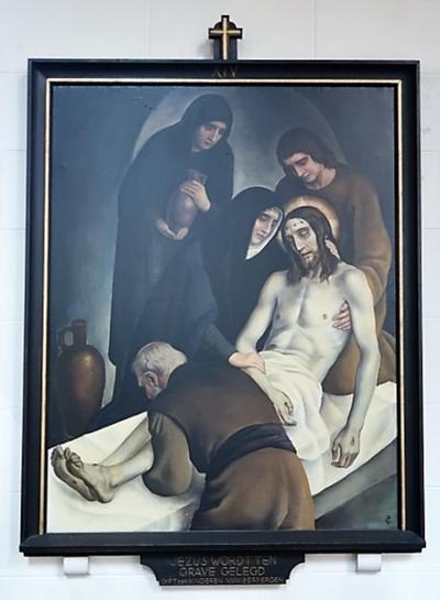 Kruiswegstatie XIV: Jezus wordt in het graf gelegd