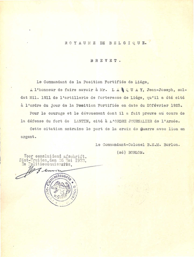 Brevet Oorlogskruis, Fort van Lantin van Laquay Joseph
