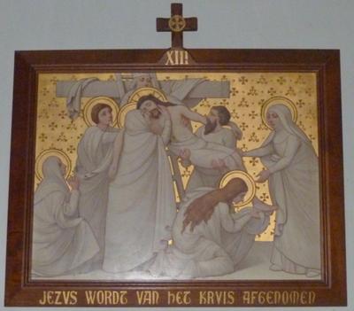 Jezus wordt van het kruis gehaald