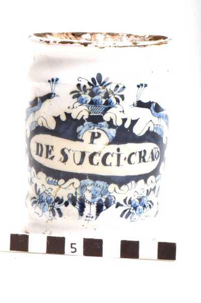 Delfts blauwe apothekerspot; P DE SUCCI. CRATO - PULV: DENTRIFIC:
