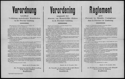 Hasselt, affiche van 16 november 1914 - registratie van besmettelijke ziekten.