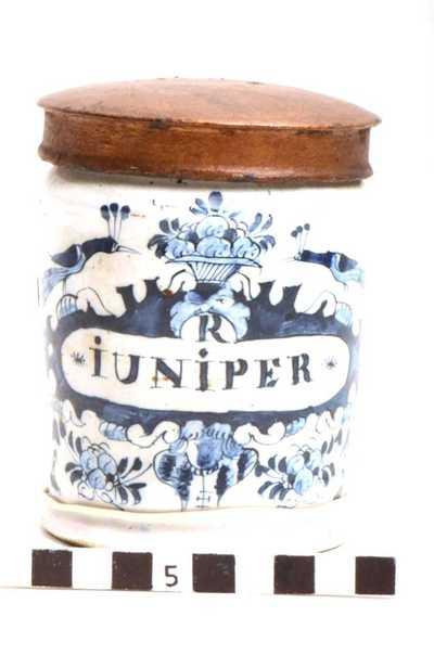 Delfts blauwe apothekerspot; R JUNIPER - SULPH: ALUM: POT: