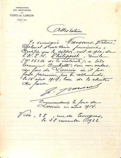 Aanbevelingsbrief voor moedig gedrag van Philippeth Emile