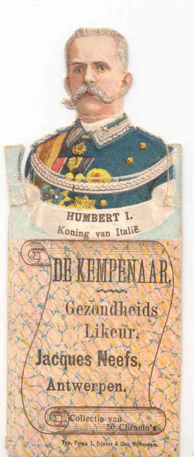 Verzamelkaart 'Humbert I, Koning van Italië' voor Elixir De Kempenaar van stokerij Neefs, Antwerpen