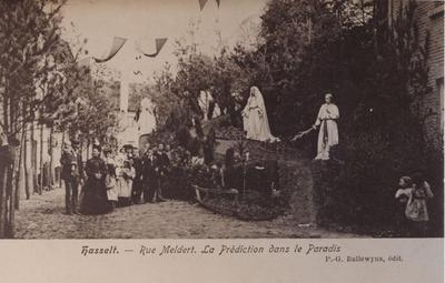Foto: straatversiering: De prediking in het Aardsparadijs, Meldertstraat (Virga Jessefeesten, Hasselt, 1905)