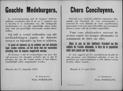 Stad Hasselt, affiche van 17 augustus 1914 - onthouden van acties, dreiging tot doden en samenscholingsverbod.