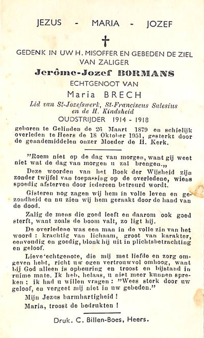 Doodsprent van Bormans, Jérome Joseph.