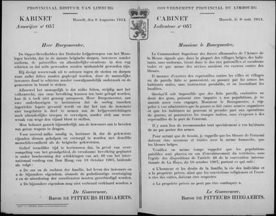 Hasselt, Provincie Limburg, affiche van 9 augustus 1914 - krijgsverrichtingen en rechten burgers.