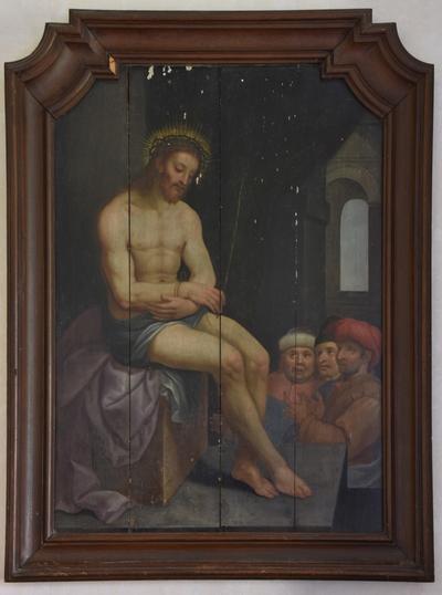 Christus op de koude steen (donker schilderij)