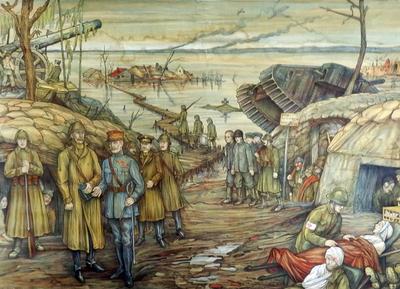 18. Koning Albert ziet de verschrikkingen van de oorlog aan de IJzer