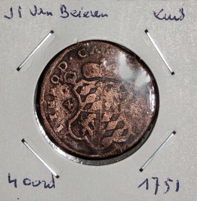 1 Stuiver of 4 Oord, geslagen te Luik, 1751, Johan-Theodoor van Beieren, koper