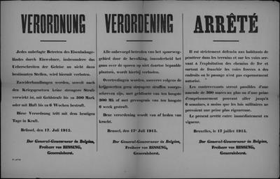 Brussel, affiche van 17 juli 1915 - betreden en oversteken spoorwegen.
