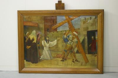 Kruisweg statie 2 : Christus neemt het kruis op zijn schouders