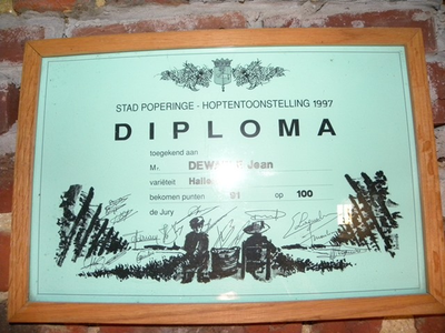 Diploma hoptentoonstelling Poperinge 1997
