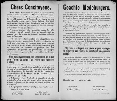 Stad Hasselt, affiche van 9 augustus 1914 - Conventie van Den Haag.