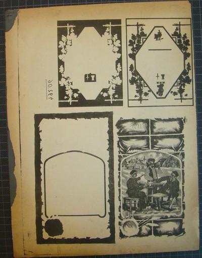 Drukplaat voor litho buiketiket, zonder tekst, met afbeelding van drie boeren aan een tafel