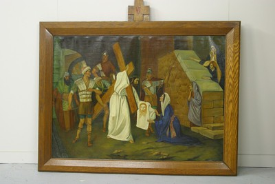 Kruisweg statie 6 : Veronica droogt het gelaat van Jezus af