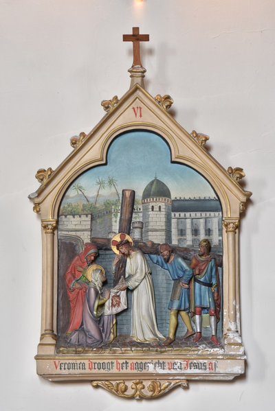 Veronica droogt het aangezicht van Jesus af