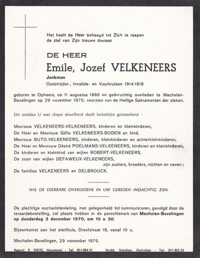 Doodsbrief van Velkeneers Kamiel