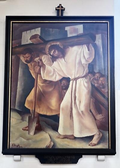 Kruiswegstatie V: Simon van Cyrene helpt Jezus zijn kruis dragen