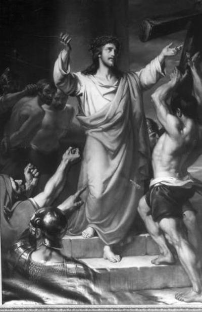 2e statie van de kruisweg, Jezus neemt het kruis op zijn schouders