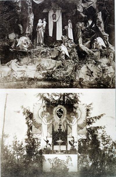 Foto: straatversiering: Onze-Lieve-Vrouw en de heilige Theresia van het Kindje Jezus, Havermarkt en Altaar met heilig Hart (Virga Jessefeesten, Hasselt, 1926)