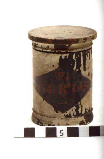 houten pot met deksel; TR: ALB: RHAS: