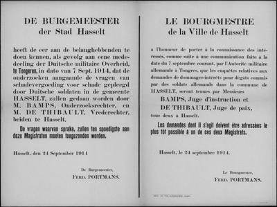 Stad Hasselt, affiche van 24 september 1914, onderzoek vergoeding schade.
