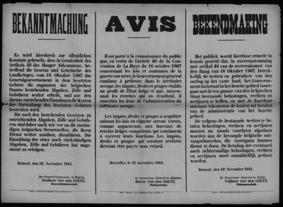 Brusssel, affiche van 12 november 1914 - heffing belastingen, rechten en accijnzen om bezette gebied te betalen.