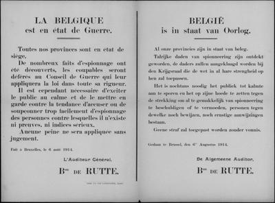 Brussel, affiche van 6 augustus 1914 - staat van beleg.