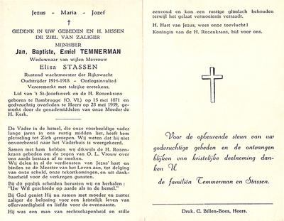 Doodsprent van Temmerman, Emile.