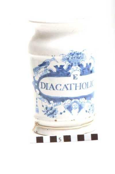 Delfts blauwe apothekerspot; E DIACATHOLICI
